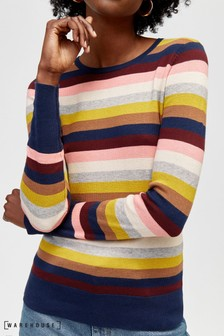 Warehouse Yellow Rainbow Stripe Crew Jumper