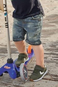 מכנסי ג'ינס קצרים מג'רזי ללא רוכסן (3 חודשים-7 שנים)