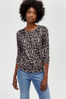 Warehouse Grey Animal Print Jumper
