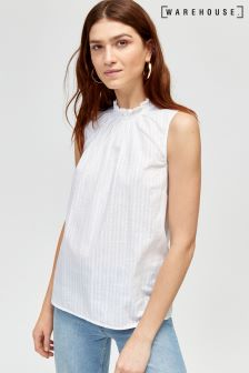 Warehouse White High Neck Broderie Sleeveless Top