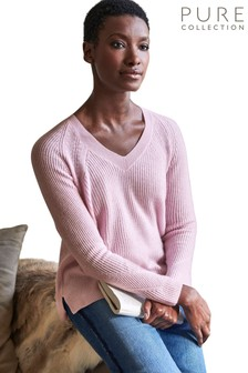 Pure Collection Pink Organic Ribbed V-Neck Sweater