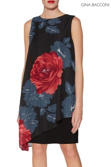 Gina Bacconi Black Tilda Asymmetric Floral Dress