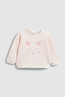 Stripe Bunny Crew Neck Sweat Top (0mths-2yrs)