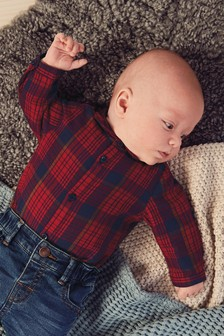 Super Soft Brushed Checked Shirt Bodysuit (0mths-2yrs)