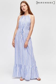 Warehouse Blue Stripe Maxi Dress