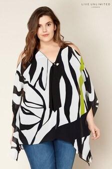 Live Unlimited Zebra And Lime Print Cold Shoulder Top