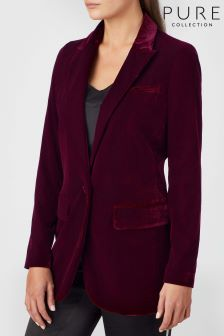 Pure Collection Purple Relaxed Velvet Blazer