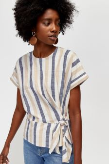 Warehouse Blue Stripe Linen Mix Tie Side Top