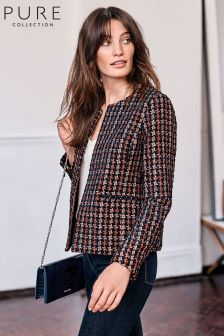 Pure Collection Purple Textured Check Jacket