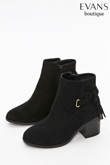 Evans Black Extra Wide Fit Plait Detail Ankle Boot