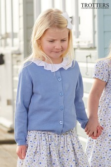 Trotters London Blue Pretty Button Cardigan