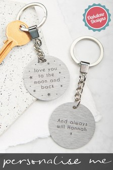 Personalised Moon And Back Keyring by Oakdene Designs
