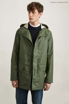 French Connection Khaki Coated Hooded Zip-Through Jacket