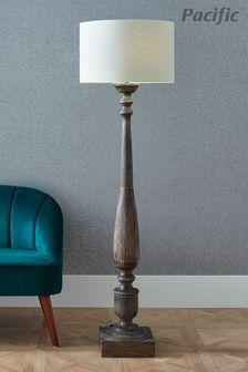 Alia Grey Wash Turned Mango Wood Floor Lamp by Pacific Lifestyle