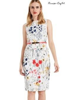 Phase Eight White Jaida Floral Peplum Dress