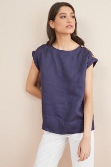 Linen Button T-Shirt