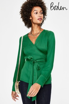 Boden Green Belle Wrap Top