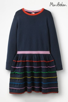 Boden Blue Rainbow Ruffle Knitted Dress