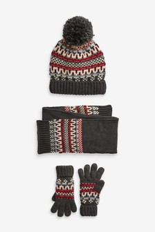 Fairisle Hat, Scarf And Gloves Three Piece Set (Older)