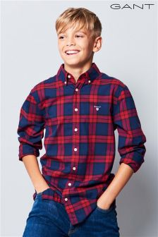 GANT Teen Dark Red Twill Blackwatch Shirt