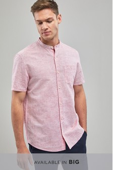 Cotton/Linen Grandad Collar Regular Fit Shirt