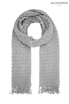 Accessorize Grey Leela Pleated Scarf