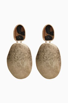 Metal Disc And Animal Print Drop Earrings