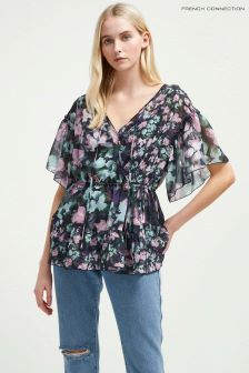 French Connection Blue Floral Wrap Top