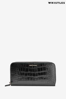 ארנק ארוך של Whistles דגם Shiny Croc בשחור