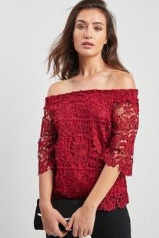 Koronkowa bluzka Bardot