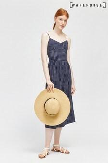 Warehouse Blue Spot Smocked Midi Dress
