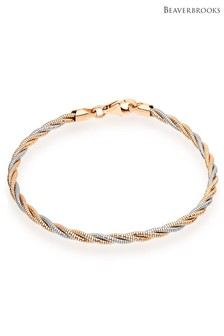Beaverbrooks Silver and Rose Gold Plated Sparkle Bracelet