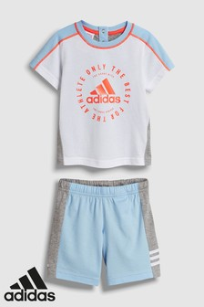 adidas Infant Blue/Grey Tee And Short Set