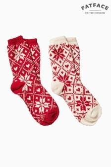 FatFace Red Fairisle Pattern Fluvia Socks Two Pack