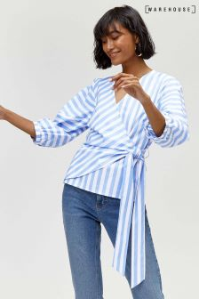 Warehouse Blue Puff Sleeve Stripe Wrap Top