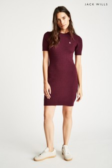 Jack Wills Damson Danesfort Classic Cable Knit Dress