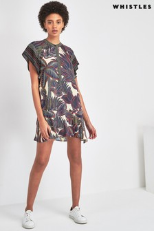 Whistles Green Palm Print Shirt Dress