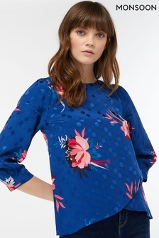 Monsoon Navy Janice Floral Print Top