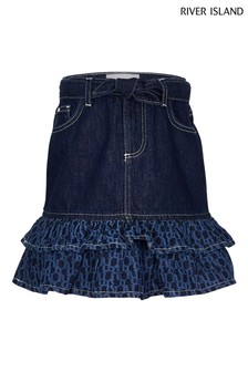 River Island Blue Denim Dark Mono Ra-ra Skirt