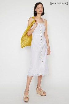 Warehouse White Broderie Pinafore Midi Dress