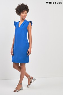 Whistles Blue Safia Crepe Dress