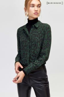 Warehouse Green Pattern Leopard Chiffon Shirt
