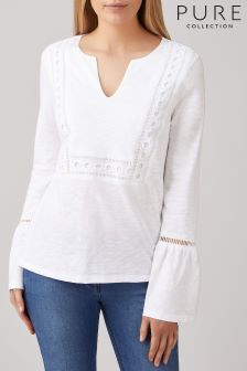 Pure Collection White Cotton Cut Out Top