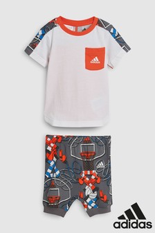 adidas Infant White/Print Tee and Short Set