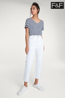 F&F White High Waisted Straight Leg Jean