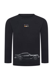 Boys Navy Car Cotton Long Sleeve T-Shirt