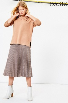 Oasis Grey Check Pleated Midi Skirt
