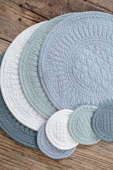 4 Pack Mary Berry Signature Cotton Set of 4 Grey Coasters