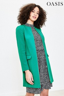Oasis Green Collarless Zip Coat