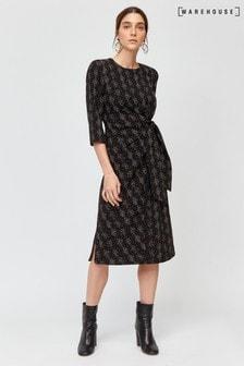 שמלה צבעונית עם קשר טוויסט של Warehouse דגם Snakeprint